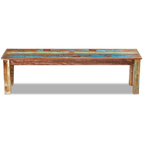 Festnight Retro-Stil Holzbank Sitzbank Ruhebank aus Recyceltes Massivholz Multifunktional Massivholzbank 160 x 35 x 46 cm - 4