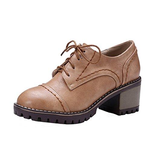ENMAYER Womens PU Casual Plateforme Round toe Mid Block Talon Lace Up Slip on Ankle Bowtie Talons hauts Boots Marron#G1