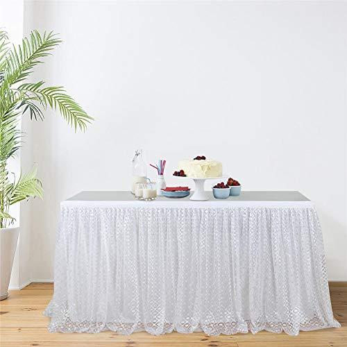 Wetour 9FT Tischrock Tüll Tischdeko Rosa/Weiß Hawaii Hula Rock Mit Blumenmuster, Tischrock Tischdekoration Für Hochzeit, Geburtstag, Bar, Tropical Beach Party Dekoration