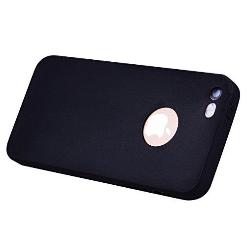 2x Cover iPhone 5 / 5S / SE,ZHXMALL Custodia iPhone 5 / 5S / SE Silicone Colore Candy TPU Flessibile Morbido Ultra Sottile Leggero Gel Gomma Cassa Protettiva Anti-urto Anti-Graffio Cellulari Protezion Nero + Blu