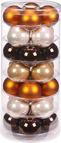 Inge-glas 15060D003 Kugel 60 mm, 28Stück / Dose, Cappuccino Mix, Schokobraun/kupferbraun/krokant/Champagner