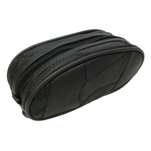 cuir noir sac pochette cas avec fermeture à glissière 170x70x60mm
