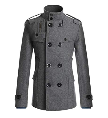 CuteRose Men Slim Double-Breasted Woolen Jacket Trim-Fit Business Trench Coat Grey M Single Breasted Peacoat