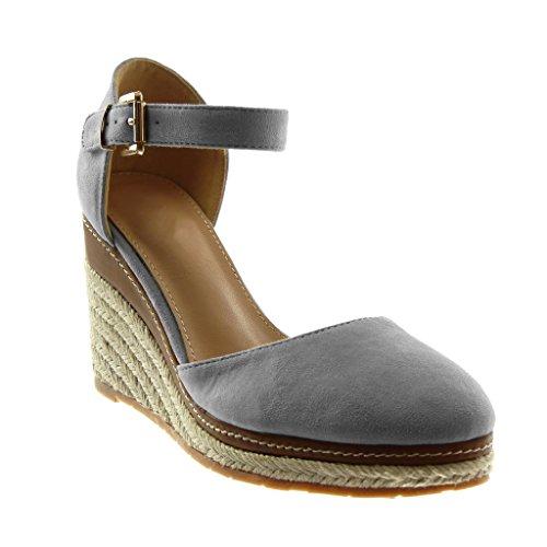 Chaussures Mode Sandales Sandales Plate-forme Ouverte Femmes Cheville # 09 Noir 36 suStgtZDf