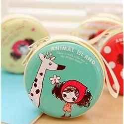 Generic rayas: Kawaii niña redondo lata Monedero clave cartera doble organizador de auriculares Mini bolsa de almacenamiento