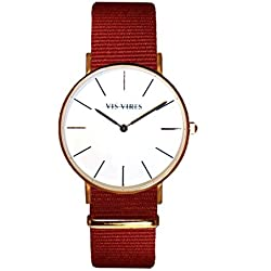 Vis Vires Ladies Burgundy Rose Gold Timepiece 36mm
