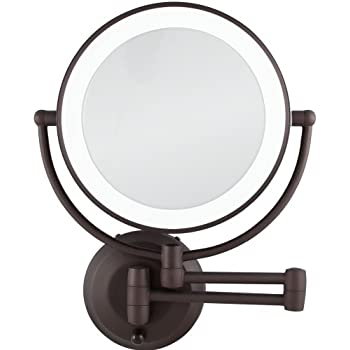 zadro mirrors. zadro 10x/1x magnification cordless led lighted dual sided wall mirror, 7-1 mirrors 1