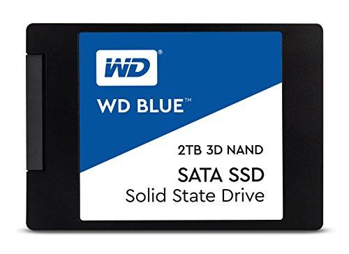 WD Blue 3D NAND 2TB. Interne NAND SATA III-SSD, 6 Gbit/s 2,5 Zoll (7mm) Festplatte von Western Digital. Verbesserte Energieeffizienz. Optimiert für Multitasking und ressourcenintensive Anwendungen WDS200T2B0A