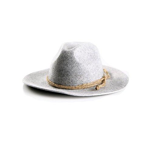 Für Hut Erwachsene Wollfilz (ALMBOCK Trachtenhut Herren grau hellgrau H3 | Oktoberfest Hut aus echtem Wollfilz | Hut Tracht in M, L,)