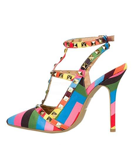 Arc-en-ciel womenâ s Schuhe verzierte Schnalle High Heel Sandale Rainbow
