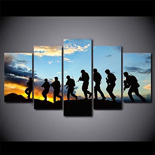 mmwin HD Moderne Poster Dekoration Wandkunst Bilder Arbeiten 5 Panel Soldier Landschaft Wohnzimmer Gedruckt Cuadros Malerei