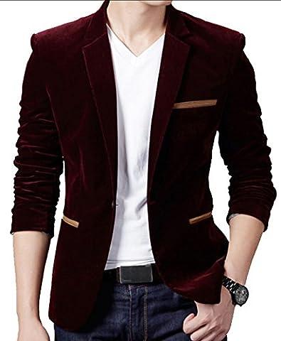 Generic Mens Casual Comfy One Button Suit Slim Fit Velvet Blazer L Wine Red