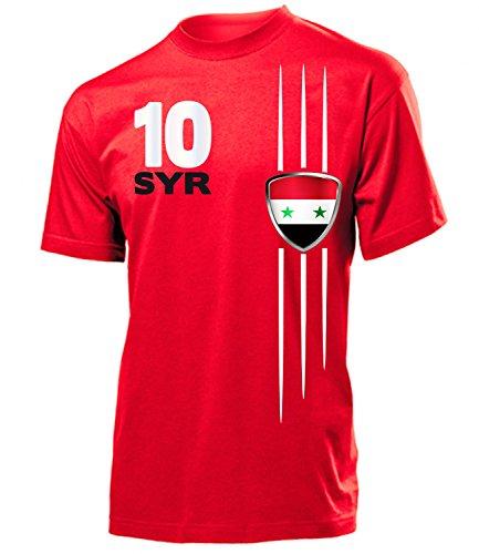Syrien Fanshirt Fan Shirt Tshirt Fanartikel Artikel 5436 Fussball Männer Herren T-Shirts Rot S