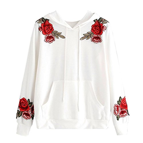 WOCACHI Damen Kapuzenpullover Mode Frauen Langarm Rose Stickerei Applique Hoodie Sweatshirt Weiß Tops Bluse (S/34, Weiß)
