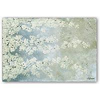Cuadriman Cerezo Grande Cuadro, Madera, Blanco y Azul Pastel, 120 x 80 cm