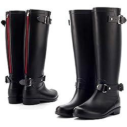 AONEGOLD Botas de Agua Mujer Lluvia Altas Zapato Impermeables Ajustable Cremallera y Hebilla Goma Botas Wellington(Negro 2,41 EU)