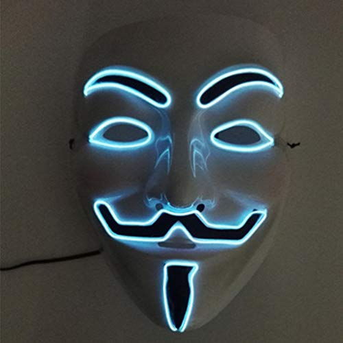 Halloween-Maske, JunYee LED Anonymous Hacker-Gesichtsmaske für Kostüm, Party, Festival, Cosplay, Halloween (weiß) - Maskerade-masken Für Weiße Männer