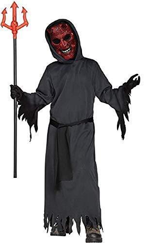 Fancy Me Jungen Leuchtend Burning Teufel Satan Lucifer Unheimlich Böse Gruselig Halloween Kostüm Kleid Outfit 7-12 Jahre - Schwarz, 7-9 Years