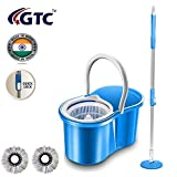 GTC Plastic 360 Degree Spin Floor Cleaning Easy Bucket Mop with 2 Microfiber Heads (Multicolour)