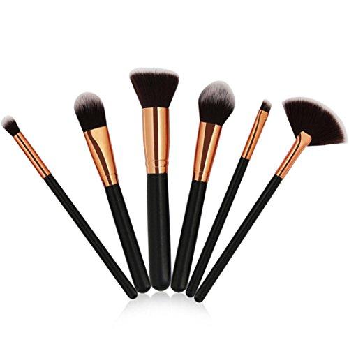 Moonuy 6PCS Filles Pinceaux de Maquillage Brosse de fondation Brosse à poudre Brosse d'ombre d'oeil Pinceau de maquillage de poudre de visage a placé des outils de maquillage de beauté (Noir)