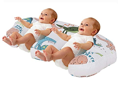 Love2Sleep TWIN FEEDING/ NURSING PILLOW CUSHION HOLLOWFIBRE FILLED FOR COMPLETE SUPPORT: DINOSAURS