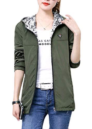 Andopa Damen plus size reversible hooded zip-up jacke trench coat 3XL Armeegrün Plus-size-reversible Coat