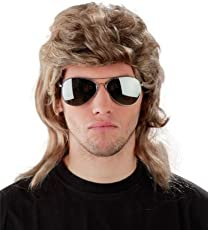 Foxxeo 50004   2er Kombi-Set !!!! 80er Jahre Vokuhila Perücke + verspiegelte Pilotenbrille