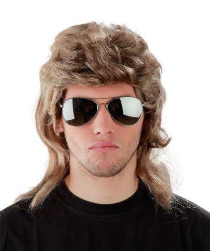 - 80er Jahre Vokuhila Perücke + verspiegelte Pilotenbrille ()