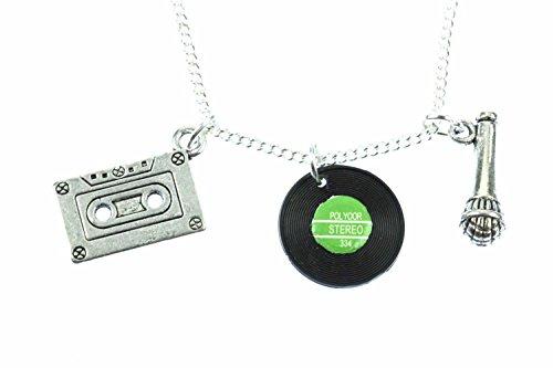 Miniblings 3er Musik Kette Kassette Schallplatte Mikrofon Halskette 45cm DJ (Band-mikrofon)