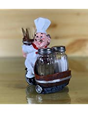 Nyrwana Sitting French Chef Pierre Glass Salt and Pepper Shaker Set with Decorative Display Stand Table Centerpiece Figurine-3