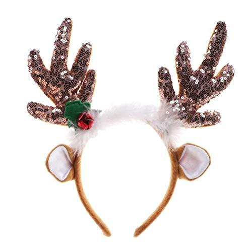 TONVER Weihnachts-Elch-Stirnband, Weihnachts-Pailletten mit Ohren, braun, großes