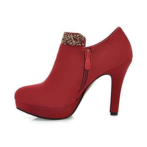 Sconosciuto 1TO9 donna con zip high-heels casual gomma pumps-shoes Red
