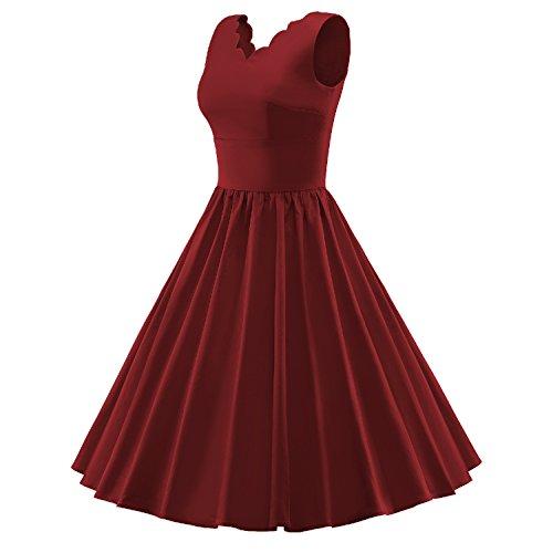 LUOUSE Femmes Vintage années 50 's Style Lace V-cou Rockabilly Swing, Robe de soirée cocktail WineRed