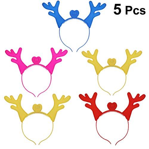 YeahiBaby 5 stücke Weihnachten Rentier Haarreifen Geweih Stirnband mit LED Licht Xmas Party Headwear Haarband (Zufällige Farbe)