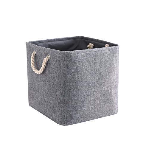 Mangata - scatola portaoggetti pieghevole in tela, con manici in corda, salvaspazio, organizer pieghevole per giocattoli, libri, lavaggi, indumenti, grigio, 33 × 33 × 33 cm