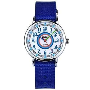 Kinder Armbanduhr Analog Uhren Zeiger Mädchen Kinderuhr Armbanduhr Mädchen Kinder Lernuhr Blau/Lila Nylon Easy-Read time Teacher zum Uhrzeit Lesen Lernen für Kinder