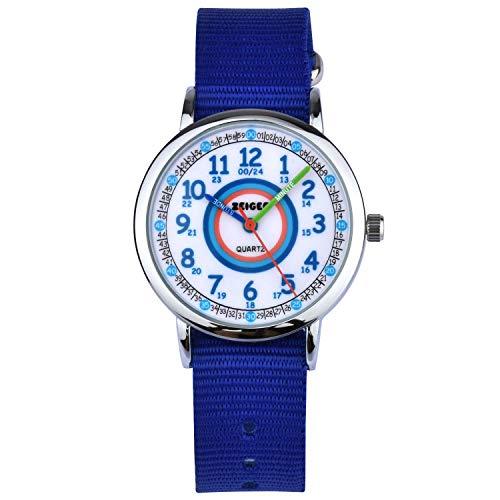 Kinder Armbanduhr Analog Uhren Zeiger Mädchen Kinderuhr Armbanduhr Mädchen Kinder Lernuhr Blau Nylon Easy-Read time Teacher zum Uhrzeit Lesen Lernen für Kinder KW109-NEW