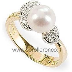 Anillo con Perla en Oro Amarillo y Bianco 18Kt y Diamantes