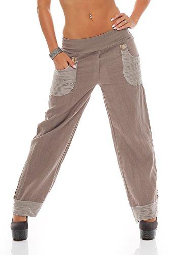 Pantaloni in lino da donna, Aladi pantaloni dal Design moderno cappuccino (Pantaloni Misses Lino)
