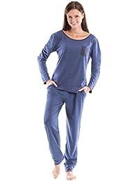 Moonline trendiger Damen-Pyjama Schlafanzug Hausanzug mit Langarmtop und gemütlicher Hose mit Bündchen
