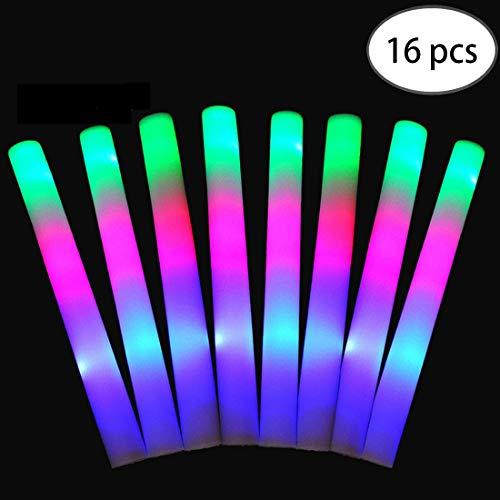 FineInno 16 Stück Mehrfarbig Schaumstoffstab LED Glowstick Party Knicklicht mit 3 Blinkenden Modi Wiederverwendbare für Festivals, Geburtstag, Hochzeit (16 Stück)