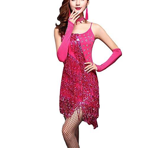 illetten Quaste Latin Dance Dress Outfit Perlen Fransen Flapper Cocktailkleid Dame Ballsaal Party Bühne Performance Dancewear Kostüme für Frauen ( Farbe : Rose rot , Größe : S ) ()