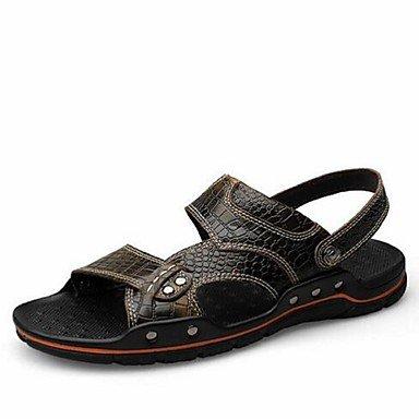Uomini sandali estivi in pelle Casual tacco piatto nero blu borgogna Flat Blue