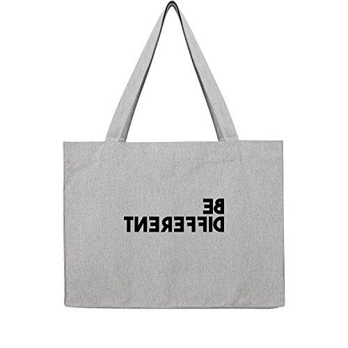 Fossil Grau T-shirt (Be different Bag Frauen Shopper grau Jute Beutel Handtasche Strand Sommer faltbar groß bedruckt mit Motiv (370-U762-Grau))