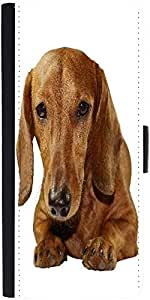 Snoogg Dachshund Staring Portrait Graphic Snap On Hard Back Leather + Pc Flip...