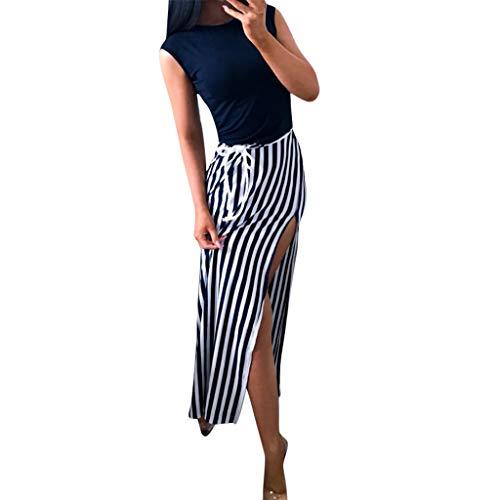 Elegant Kleider Damen Business Sommer Casual Böhmen Petticoat Kleid Büro Große Größe Dress Mädchen Qmber Gestreifte Colorblock ärmellose Weste Maxi-Kleid/Schwarz,XL