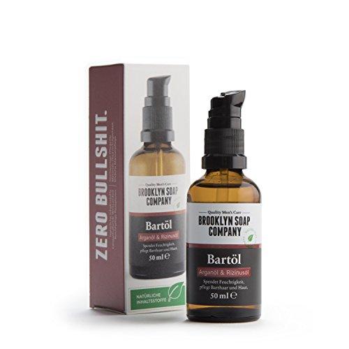 Natürliche Bartpflege: Beard Oil Bartöl (50 ml) ✔ Naturkosmetik der BROOKLYN SOAP COMPANY Geschenkidee als Geschenk für Männer - Bartstyling für 3-Tage-Bart, Vollbart ✔ weicherer Bart, weniger Jucken