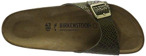 Birkenstock Madrid Shiny Snake Olive, Sandales femme Vert (Shiny Snake Olive)