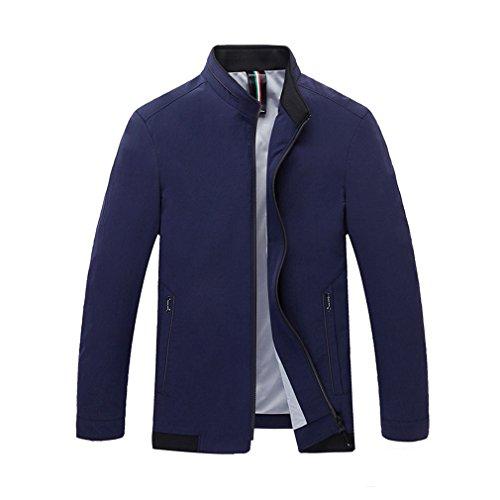 Abrigos de los hombres - prendas de vestir exteriores de manga larga Primavera Otoño Elegante Cómodas chaquetas clásicas Patas de edad media Collar de pie más tapas de tamaño azul gris ( Color : 1 , tamaño : 7XL )