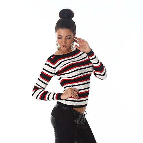 a9422a152bc740 Voyelles Damen Pullover Pulli Sweater Langarm Carmen Ausschnitt Streifen  gestreift Shirt 34,36,38